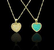 Oro verdadero 18k plateó la perla / azul colgante de corazón 2 * 2.6cm