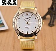moda quartzo relógio de diamante duplo cinta de aço analógico das mulheres