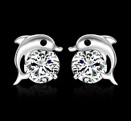 Women's  Party/Daily Dolphin Zircon/Silver Plated Stud Earrings