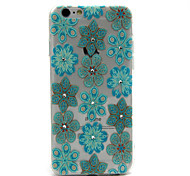 Blue Flowers Pattern TPU Diamond Relief Back Cover Case for iPhone 6/6S