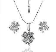 Arinna Fashion Jewelry Set Women 18k white Gold Plated clear crystal  Flower Necklace Earrings Gift Set G1352#3