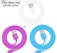 Assorted Colors Apple MFi Certified Lightning to USB Data Sync Charger Cable for iphone 6/6plus/5s/5/ipad(100cm)