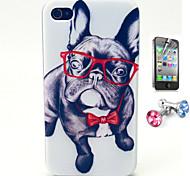 Gläser Hundemuster TPU weichen Fall mit Anti-Staub-Stecker und flim für iphone 4 / 4s