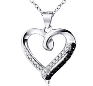 I FREE®Women's Heart Type Diamond S925 Sterling Silver Necklace 1 pc with 18 inch Sterling Silver Chain