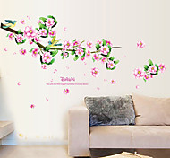 Pink Peach Flower PVC Wall Stickers Wall Art Decals