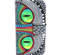 Cat Eye Pattern PU Leather Case with Magnetic Snap and Card Slot for Alcatel One Touch Pop C7