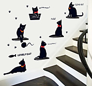 Cartoon Cats Playing PVC Wall Stickers Wall Art Decals