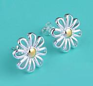 Korean 925 Sterling Silver Plated Chrysanthemum Stud Earring