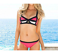 Pink Sexy Geometric Suspender Top Bikini Set