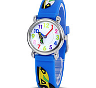 Fashion boy and girl children's cartoon 3D environmental protection silicone quartz watch (racing car)ET008