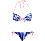 Winmax® Women Blue Striped Nylon & Spandex Bikini Swimwear