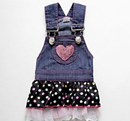 Dog Dress Blue Dog Clothes Summer Jeans / Polka Dots Cosplay