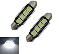Luces Decorativas Festoon 1.5W 4 SMD 5050 80-90lm LM Blanco Fresco DC 12 V 2 piezas