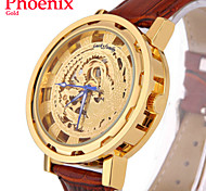 Men's Watch Chinese Phoenix Pattern Automatic Mechanical Wrist Watch PU Leather Auto Self-Wind Clock (Assorted Colors)