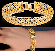 U7® Gold Bracelet Bangle Platinum/18K Real Gold Plated Fancy Pattern Chunky Chain Bracelet Fashion Jewelry