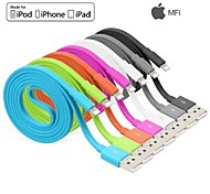 yellowknife® IMF manzana rayo de sincronización de 8 pines y cable plano del cargador USB para el iPhone 7 6s 6 Plus SE 5s 5 ipad (100 cm)
