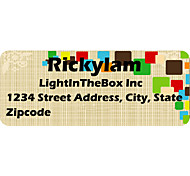 Personalized Product Labels / Address Labels Colorful Square Pattern Of Film Paper
