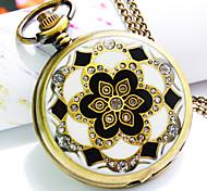 nouvelle montre de poche à quartz de mode de motif explosion cadran rond fleur de diamant des femmes