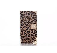 leopardo de la PU del teléfono móvil funda protectora con diamantes de imitación para samsung galaxy s6 (marrón)