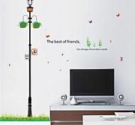 Fresh Street Lamp Hanging Basket PVC Wall Stickers Wall Art Decals