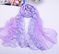 Women's Casual Chiffon/Polyester Rose Print Thin Scarves