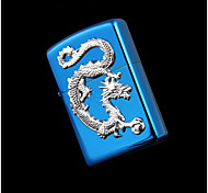 Exquisite Blue Dragon Bright Chrome Kerosene Lighter