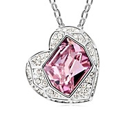 Forever My Heart Short Necklace Plated with 18K True Platinum Light Amethyst Crystallized Austrian Crystal Stones