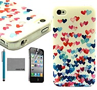 COCO FUN® Colorful Heart Pattern Soft TPU Back Case Cover with Screen Protector and Stylus for iPhone 4/4S