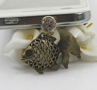 Fashion Retro Hollow Out Fish Pendant Dust Plug General Type
