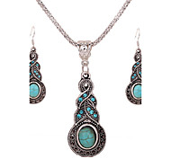 Turquoise Silver Necklace (Includes Necklace & Earrings) Jewelry Set