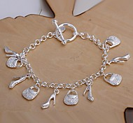 Fashion Shoes and Bag 925 Silver Charm Bracelets  1pc