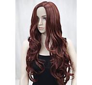 New Fashion No Bangs Side Skin Part Top Women's Reddish Auburn Long Curly Wavy Wig