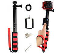 Black Extendable Telescoping Monopod with Mount Adapter for GoPro and Cell Phone