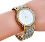 Men's Fashion Simple White Dial Silver Band Quartz Watch