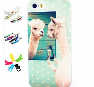 Alpaca Pattern Stylus Anti-Dust Plug and Stand TPU Material for iPhone 5/5S