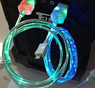 llevado cable de 1 m 3 pies llevó la luz de v8 cable usb cargador cable de datos micro para samsung s3 s4 htc nokia mp3, mp4