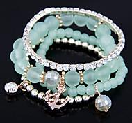 Wild Sweet Candy Colored Beads Fashion Flash Diamond Multilayer Bracelet