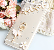 Fashion Diagonal Lower right corner of the ballet Case Bowknot Pattern Rhinestone Case for iPhone6 plus