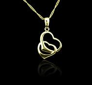 Oro verdadero 18k plateó doble corazón colgante de 2 * 3.4cm