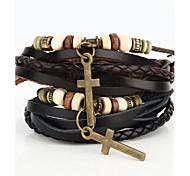 Vilam® Vintage Crucifix Wood Bead Black/Brown Handmade Woven Leather Bracelet Jewelry