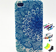 Faceplate Pattern with Stylus ,Anti-Dust Plug and Stand TPU Soft Case for iPhone 4/4S