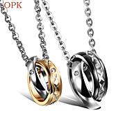 OPK®Fashion 18 K Gold Plating Titanium Necklace Set Auger Couples Love  Gift
