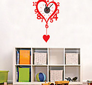Fashion 3D DIY Loving Heart Clock Wall Sticker (1x AA Battery)