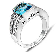 High Quality Fashion Women Platinum 10 KT Water Blue Zircon Rectangle Ring