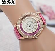 женская fashine алмазов зыбучие пески жемчужина кварца кожа наручные часы (разных цветов)