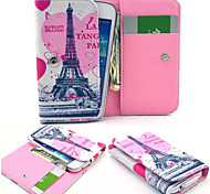 Love Eiffel Tower Leather Wallet style Full Body Case and Card Slot for Iphone Mobile Size<13.8*7.6*2.1