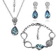 Arinna Fashion Jewelry Set Women 18k white Gold Plated Blue Oval Rhinestone Necklace&Earrings&Bracelet Gift Set G1367#3
