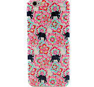 Flower and Elephant Painting TPU Falling Proof Case for iPhone6