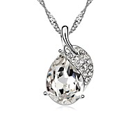 Miss You Much Lady's Short Necklace Plated with 18K True Platinum Clear Crystallized Austrian Crystal Stones