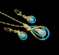 18K Real Gold Plated Zircon Necklace+Earrings Jewelry Set